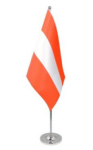 Austria Desk / Table Flag with chrome stand and base